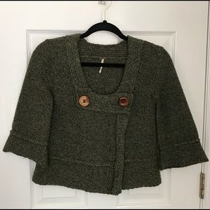 Free People Forest & Fauna Wool Cropped Cardigan